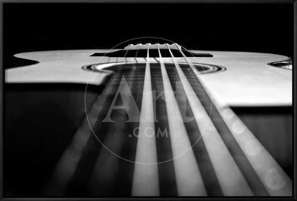 """Close Up a Steel String Acoustic Guitar Built by Luthier John Slobod, 36"""" x 24"""", Black Framed Canvas - art.com"""