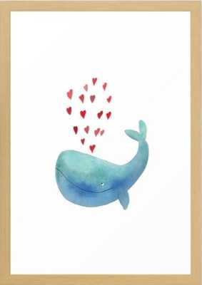 Loving Whale - 15 x 21 natural frame - Society6