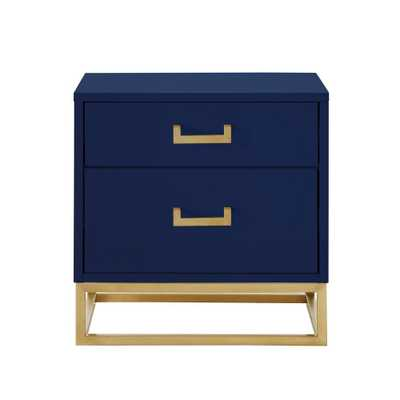 Nicole Miller Jin Side Table Nightstand High Gloss with Metal Base - Navy-Gold - Overstock
