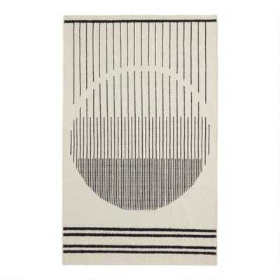 Ivory And Black Geometric Stripe Wool Kilim Tribeca Area Rug - World Market/Cost Plus