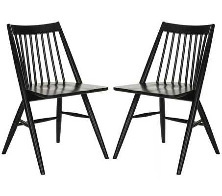 White Spindle Slat Back Side Chair (Set of 2) - Wayfair