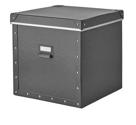 FJÄLLA Storage box with lid, dark gray - Ikea