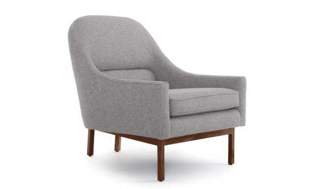 Gray Knight Mid Century Modern Chair - Taylor Felt Grey - Mocha - Joybird