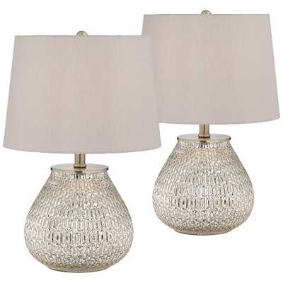 """Zax 19 1/2"""" High Mercury Glass Accent Table Lamp Set of 2 - Style # 57R61 - Lamps Plus"""