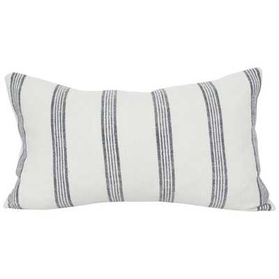 French Stripe Navy  - 11x19 pillow cover / on front solid on back - Arianna Belle