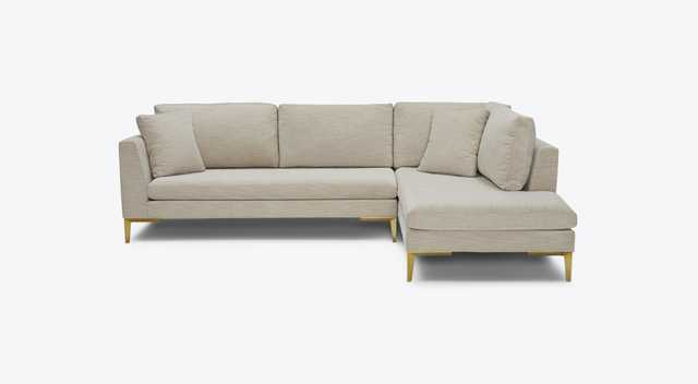 White Ainsley Mid Century Modern Sectional with Bumper - Tussah Blizzard - Right - Joybird