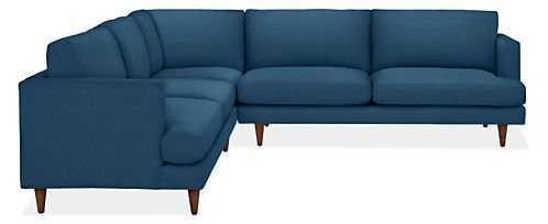 "Campbell Custom Sectional - 110x110"", Katz Blue, mocha leg - Room & Board"