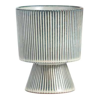 Indigo Blue and White Striped Pedestal Planter - World Market/Cost Plus