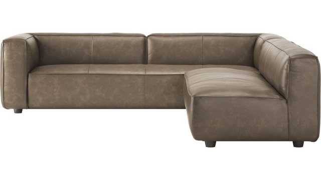 Lenyx Bello Grey Leather 2-Piece Sectional - CB2