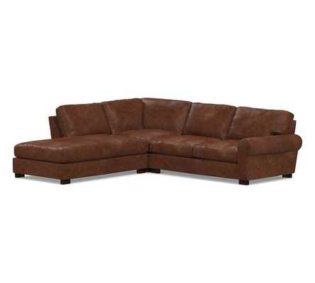 Turner Roll Arm Leather Right 3-Piece Bumper Sectional, Down Blend Wrapped Cushions, Statesville Molasses - Pottery Barn