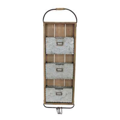 """Matranga 13.25"""" x 44.5"""" x 3"""" Wood Tin Wall Organizer - Wayfair"""