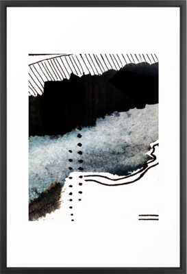 "Closer - a black, blue, and white abstract piece Framed Art Print 26"" x 28"" - Society6"