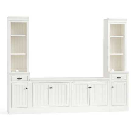 "Aubrey 5-Piece Entertainment Center Bookcases, Dutch White, 144"" Wide - Pottery Barn"