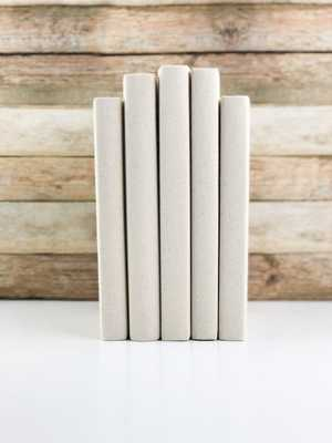 Set of 5 Decorative Books- Solid Cream - Havenly Essentials