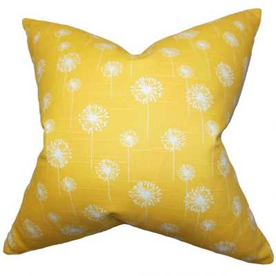 """Joop Floral Pillow Yellow - 20"""" with down insert - Linen & Seam"""
