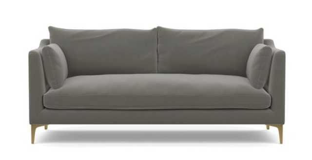 """Caitlin by the Everygirl fabric Sofa 75"""" Greige Mod Velvet - Interior Define"""