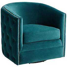 Bridgerton Teal Green Velvet Tufted Swivel Accent Chair - Style # 78R58 - Lamps Plus