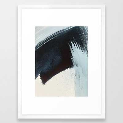 Like A Gentle Hurricane [2]: A Minimal, Abstract Piece In Blues And White By Alyssa Hamilton Art Framed Art Print by Alyssa Hamilton Art - Vector White - MEDIUM (Gallery)-20x26 - Society6