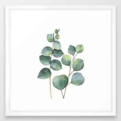 Watercolor eucalyptus branches Framed Art Print - Society6