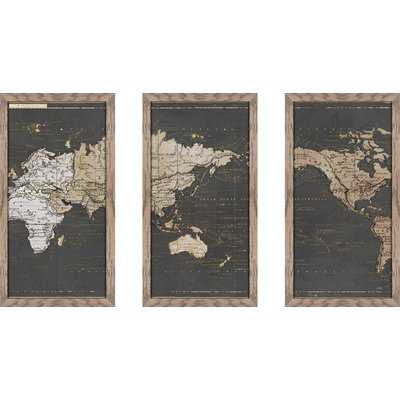 'World Map in Gold and Gray' Graphic Art Print Multi-Piece Image - Wayfair