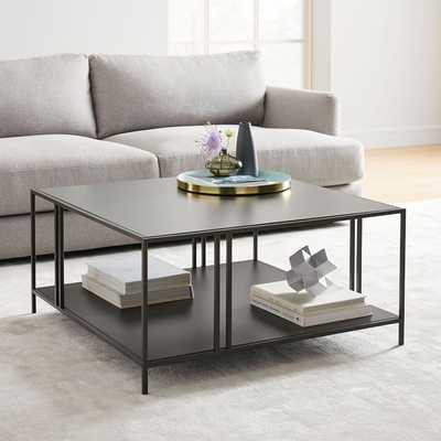 Profile Square Coffee Table, Metal, Antique Bronze - West Elm