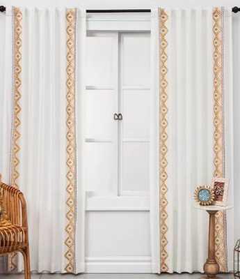 Global Border Curtain Panel White Yellow - Opalhouse™ - Target