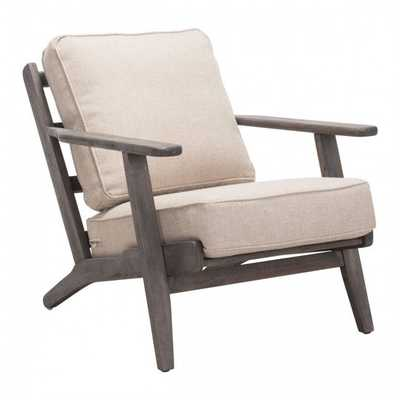 Tahoe Lounge Chair Beige & Dark Brown - Zuri Studios