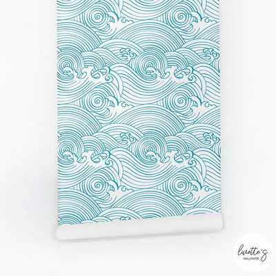 Beach Waves Removable Wallpaper, Traditional or Self Adhesive Wallpaper, Chinese nautical Wall Mural - Etsy