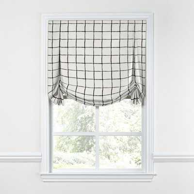Tulip Roman Shade / Painted Check - Ink / Inside Mount / Privacy Lining - Loom Decor