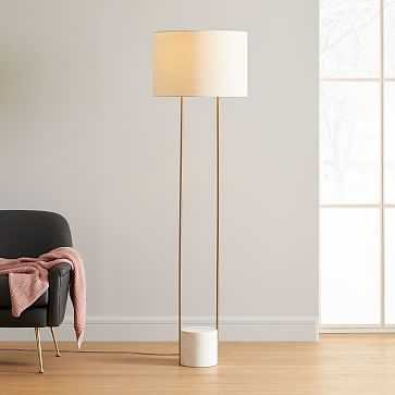 Industrial Outline Floor Lamp, Marble + Antique Brass - West Elm