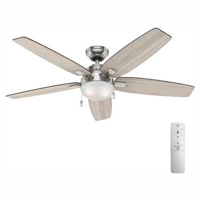Antero 54 in. LED Indoor Brushed Nickel Smart Ceiling Fan with Light and WINK Remote Control - Home Depot