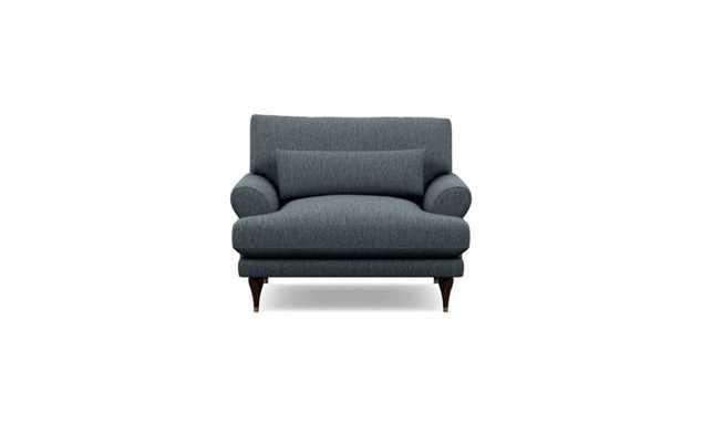 MAXWELL Accent Chair - Rain Cross Weave fabric/Oiled Walnut with Brass Cap Stiletto Leg - Interior Define