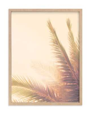 "Golden palm tree - 18"" x 24""	 - Natural raw wood frame - Minted"