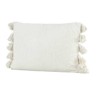 Jakob Woven Slub with Plush Tassels Cotton Lumbar Pillow - AllModern