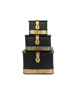 Black & Brass Galvanized Boxes (Set of 3) - McGee & Co.