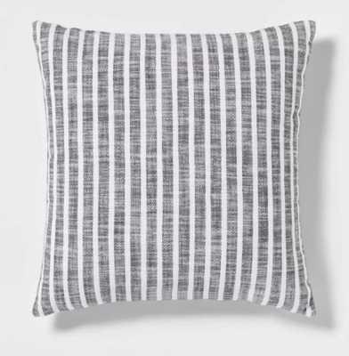 Woven Stripe Square Pillow Gray/White - Threshold™ - Target
