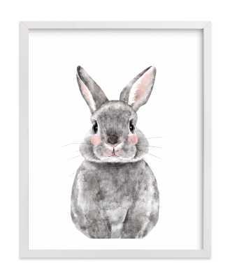 "Baby Animal Rabbit - 11"" x 14"" - White Wood Frame - Minted"