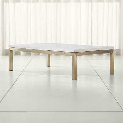 Parsons Travertine Top/ Brass Base 60x36 Large Rectangular Coffee Table - Crate and Barrel