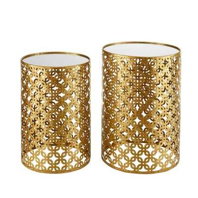 Linon Round Gold Nested End Table - Set of 2 - Hayneedle