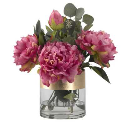 Peonies Floral Arrangement in Glass Vase - Wayfair