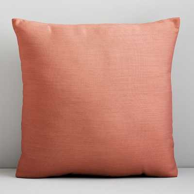 "Sunbrella Solid Indoor/Outdoor Cast Pillow, Coral, 18""x18"" - West Elm"