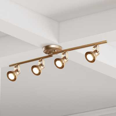 Modern Gold LED Track Lighting 2.4 ft. 4-Light Ceiling Track Lighting Kit with Adjustable Bars and Rotating Track Heads - Home Depot