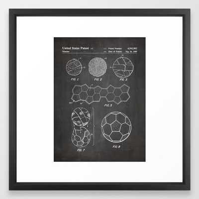 Soccer Ball Patent - Football Art - Black Chalkboard Framed Art Print by Patent Press- 22x22 vector black - Society6