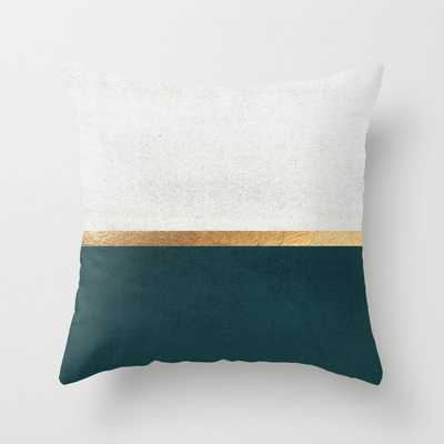 Deep Green, Gold and White Color Block Throw Pillow - Society6