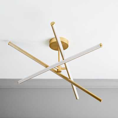 Light Rods LED Chandelier, Antique Brass/ Small - West Elm