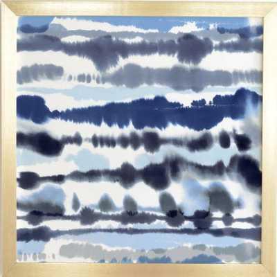 SOFT RELAXING LINES BLUE Gold Framed Wall Art - Wander Print Co.