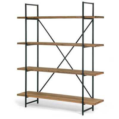 "Ailis 75"" Brown Pine Wood Metal Frame Etagere Bookcase Four-shelf Media Center - Home Depot"