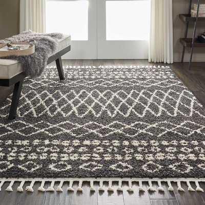 Iverson Moroccan Shag Black/Beige Area Rug - Wayfair