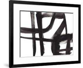 """Black and White Abstract Painting 2 - Gramercy Black -  40"""" x 30"""" -  4.0"""" Crisp - Bright White Mat -  Acrylic: Clear - - art.com"""