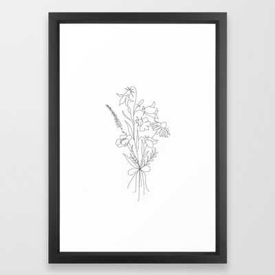 Small Wildflowers Minimalist Line Art - Vector Black - Society6